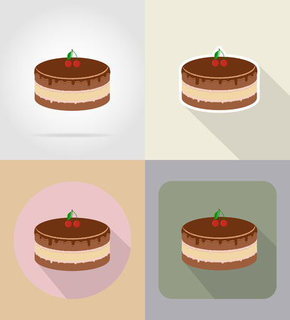 grocer: chocolate cake food and objects flat icons vector illustration isolated on background