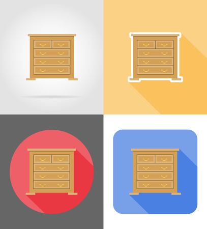 checkroom: commode furniture set flat icons vector illustration isolated on white background Stock Photo