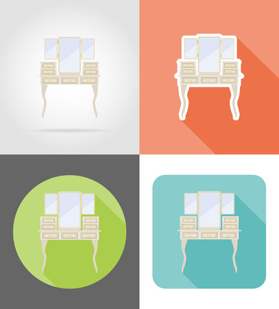 vanity: vanity table old retro furniture set flat icons vector illustration isolated on white background
