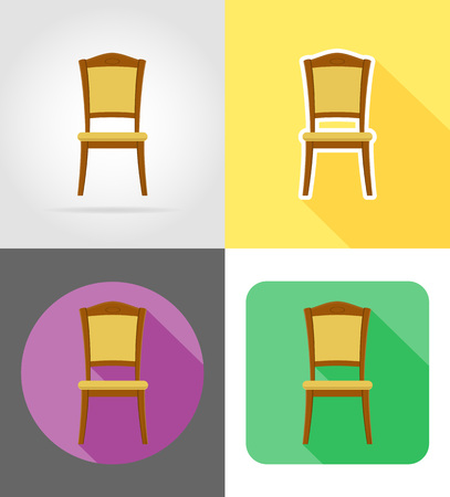 wooden stool: chair furniture set flat icons vector illustration isolated on white background Stock Photo