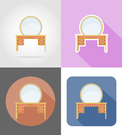 vanity: vanity table furniture set flat icons vector illustration isolated on white background