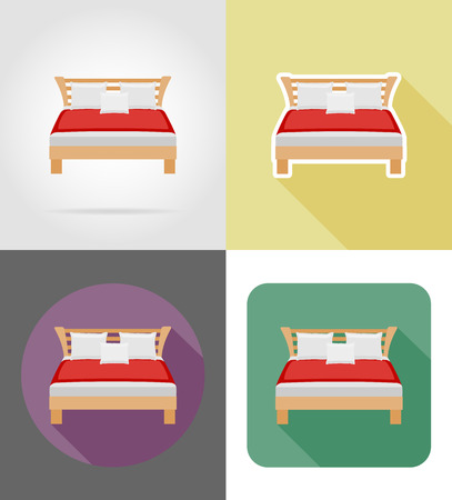 headboard: bed furniture set flat icons vector illustration isolated on white background