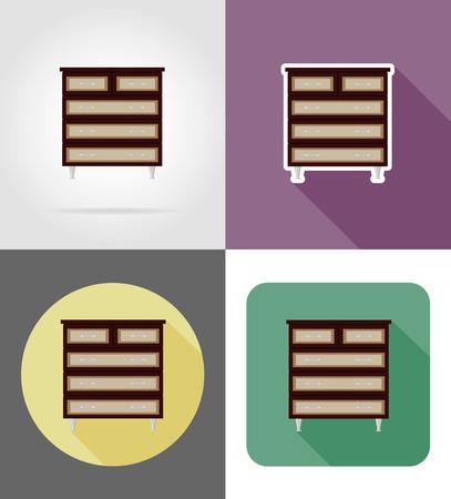 commode: commode furniture set flat icons vector illustration isolated on white background Stock Photo