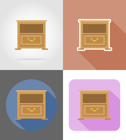 checkroom: nightstand furniture set flat icons vector illustration isolated on white background Stock Photo