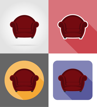 wooden stool: armchair furniture set flat icons vector illustration isolated on white background