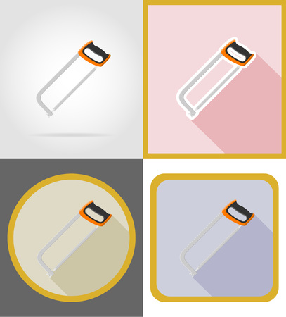 saw repair and building tools flat icons vector illustration isolated on white background Stock Photo