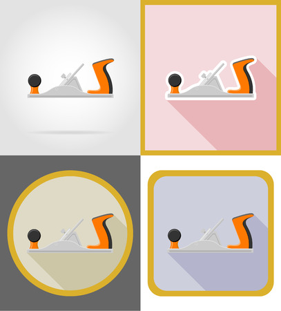 sawdust: jointer repair and building tools flat icons vector illustration isolated on white background Stock Photo