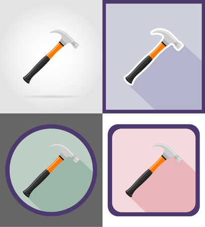 carpentry cartoon: hammer repair and building tools flat icons vector illustration isolated on white background