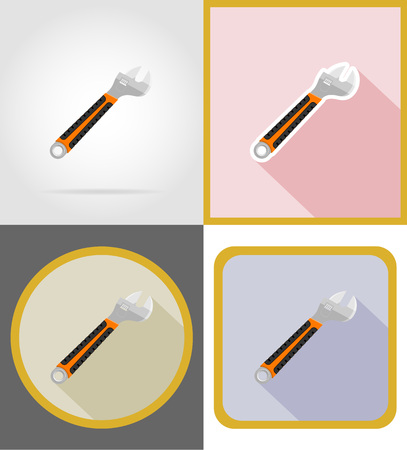 tighten: wrench repair and building tools flat icons vector illustration isolated on white background