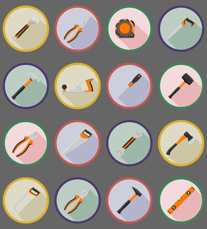 warning saw: repair and building tools flat icons vector illustration isolated on white background