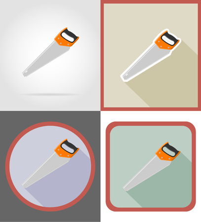 slit: saw repair and building tools flat icons vector illustration isolated on white background Stock Photo