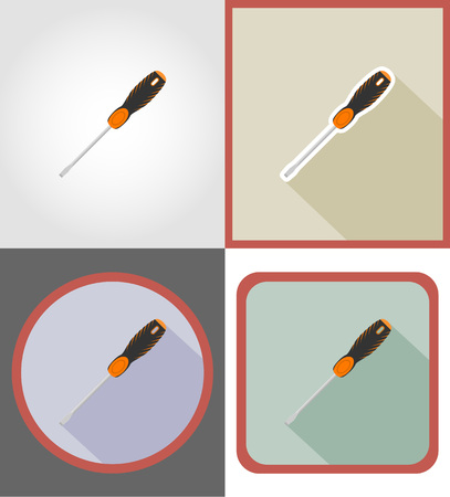 carpentry cartoon: screwdriver repair and building tools flat icons vector illustration isolated on white background