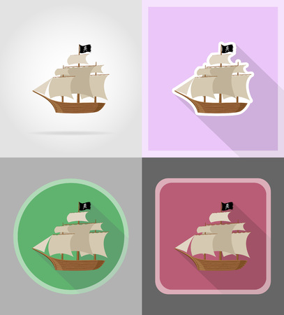 galley: pirate ship flat icons vector illustration isolated on background Stock Photo