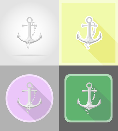 anchored: anchor flat icons vector illustration isolated on background