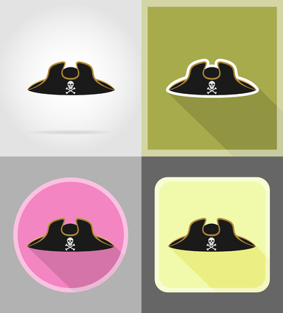 period costume: pirate hat tricorn flat icons vector illustration isolated on background
