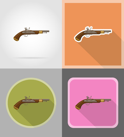 flintlock: old retro flintlock pistol flat icons vector illustration isolated on background