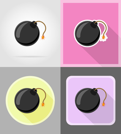 fuse: black bomb with burning fuse flat icons vector illustration isolated on background
