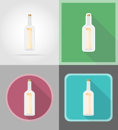 castaway: message in the bottle flat icons vector illustration isolated on background
