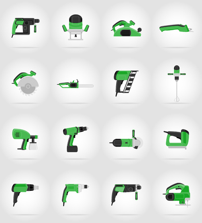 steel mill: electric tools for construction and repair flat icons vector illustration isolated on background