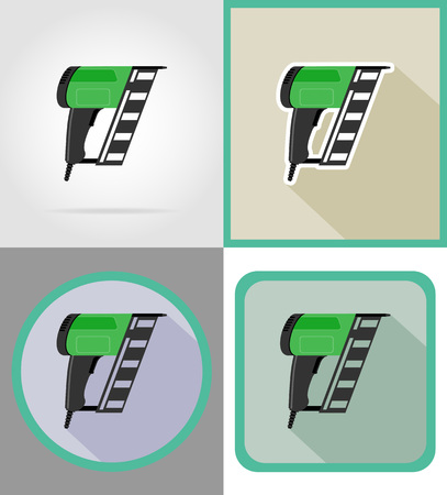 fasteners: electric nailer tools for construction and repair flat icons vector illustration isolated on background