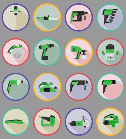 electric tools: electric tools for construction and repair flat icons vector illustration isolated on background