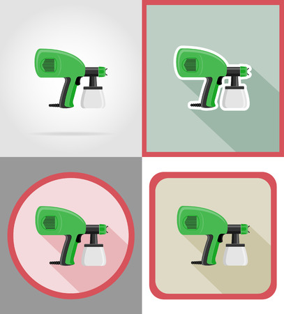 airbrush: electric airbrush tools for construction and repair flat icons vector illustration isolated on background