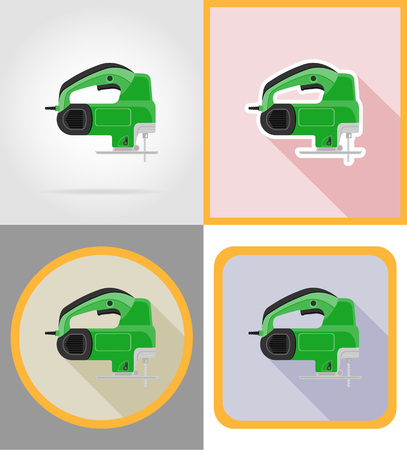 sawn: electric saw tools for construction and repair flat icons vector illustration isolated on background