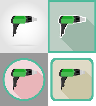 electric dryer: electric dryer tools for construction and repair flat icons vector illustration isolated on background