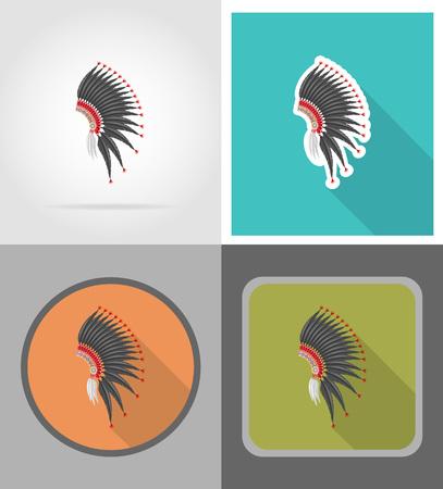 mohawk: mohawk hat wild west flat icons vector illustration isolated on background