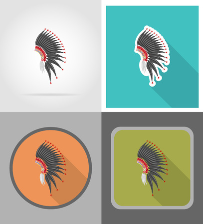 mohawk hat wild west flat icons vector illustration isolated on background