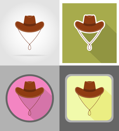 chieftain: cowboy hat wild west flat icons vector illustration isolated on background