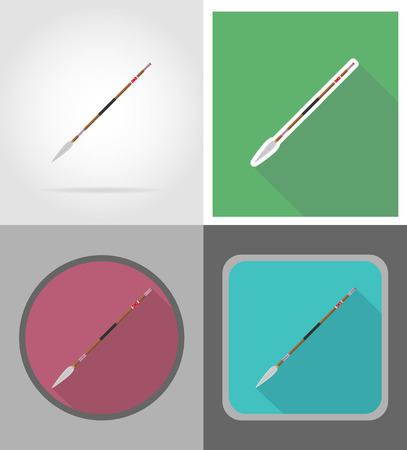 indian weapons: spear wild west flat icons vector illustration isolated on background