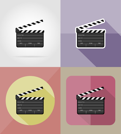 flick: clapper board flat icons vector illustration isolated on background