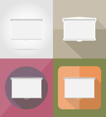 projection screen: projection screen flat icons vector illustration isolated on background