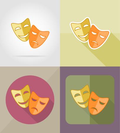 mascaras de teatro: máscaras de teatro iconos planos ilustración vectorial aislado en el fondo