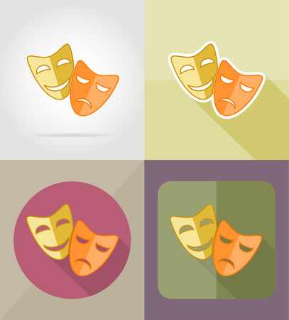 theater masks: theater masks flat icons vector illustration isolated on background