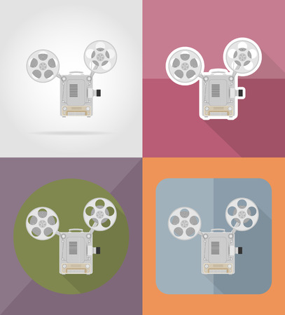 film projector: old retro vintage movie film projector flat icons vector illustration isolated on background