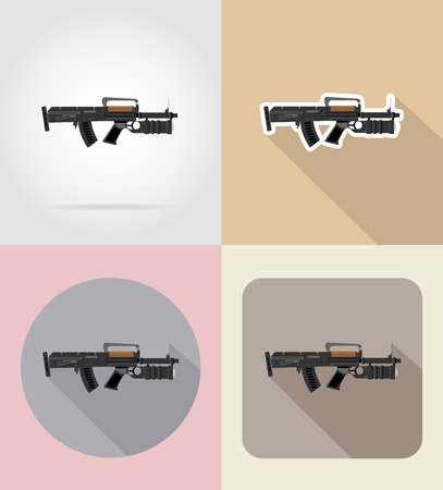 special steel: modern weapon firearms flat icons vector illustration isolated on background Stock Photo