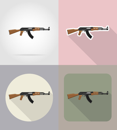 firearms: modern weapon firearms flat icons vector illustration isolated on background Stock Photo