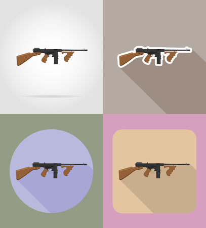 modern weapon firearms flat icons vector illustration isolated on background Stock Photo