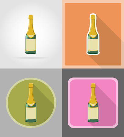 frothy: bottle of champagne flat icons vector illustration isolated on background