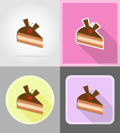 trozo de pastel: piece of chocolate cake with cherries flat icons vector illustration isolated on background