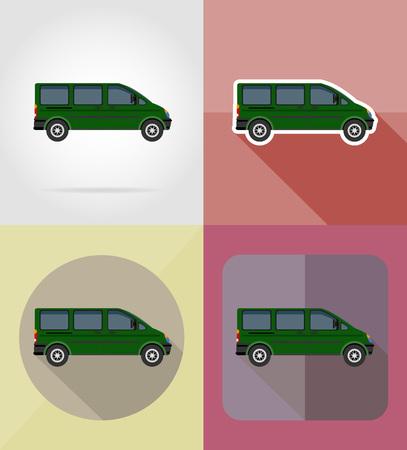 mini bus: mini bus flat icons vector illustration isolated on background