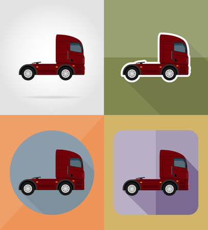 semitruck: truck for transportation cargo flat icons vector illustration isolated on background