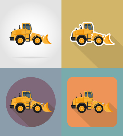 bulldozer for road works flat icons vector illustration isolated on background