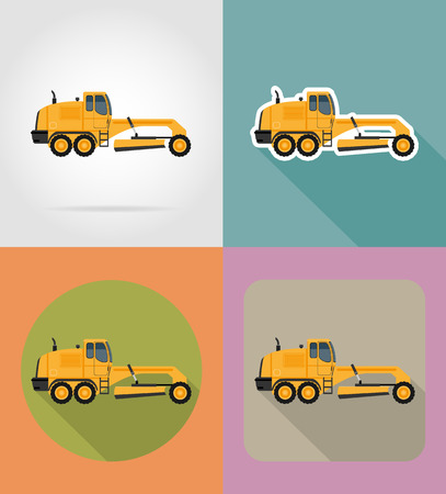 road grader: grader for road works flat icons vector illustration isolated on background