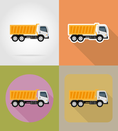 tipper: tipper truck for construction flat icons vector illustration isolated on background
