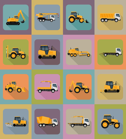 road grader: automobile transport for repair and construction flat icons vector illustration isolated on background
