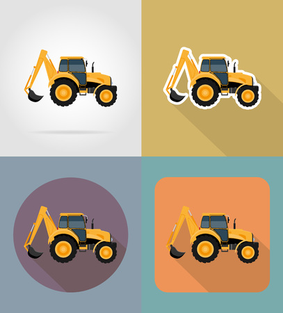 tractor flat icons vector illustration isolated on background