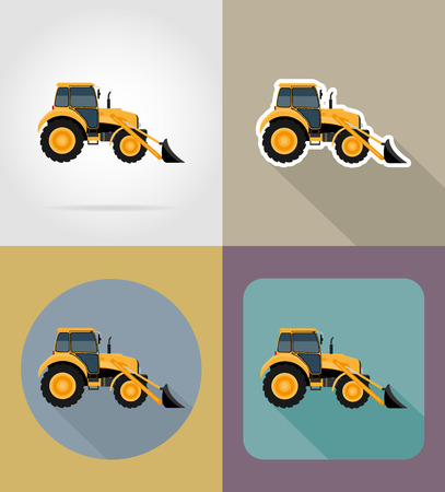yellow tractors: tractor flat icons vector illustration isolated on background